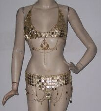 Handmade Tribal Gypsy Belly Dance Metal Coins Belt& Bra Set Coin Tiers w/ Chain