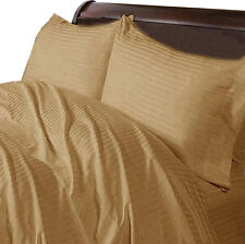 Extremely Soft Bedding Item 1000TC Egyptian Cotton All UK Size Taupe Striped