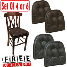 Chair Pad Cushion Faux Leather Tufted Set of 4/6 Black Brown Kitchen Seat Pillow