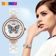 Women Wrist Watch Butterfly Hollow Out Ceramic Strap Quartz Wrist Watches UY