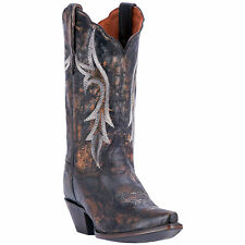 Dan Post Womens Black Cowboy Boots Distressed Leather Cowboy Boots