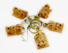 50-100pcs Hand Carved Wooden Owl Key Ring, Keychain, Key Holder Keychain