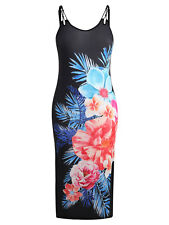 Back Criss Cross Plus Size Floral Print Dress Women Side Slit Bodycon Dresses