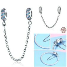 Sterling Silver Pave Inspiration Safety Chain Charm With Clear CZ Fit Bracelet