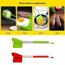 """9""""-12"""" 2 in 1 Kitchen Spatula tongs Non Stick Stainless Steel Frame Silicone New"""