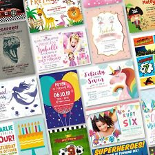 10 x Personalised Birthday Invitations Party Invites Childrens Kids Pack (G1)