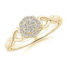 Diamond Cluster Heart Halo Engagement Ring 14K Yellow Gold Size 3-13