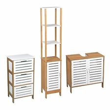 BATHROOM UNDER BASIN 3 DRAWER CABINET TALL CUPBOARD STORAGE UNIT WHITE BAMBOO