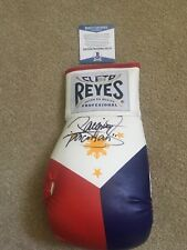 Manny PACMAN Pacquiao Signed Auto Cleto Reyes Philippines Boxing Glove BAS Coa