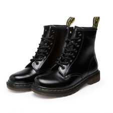Men's Casual Martin Boots Leather Ankle Low Heel Lace Up Military Combat Shoes