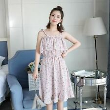 Women Sleeveless Slash Neck Chiffon Fabric Floral Printed Ruffled Dress