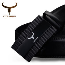 COWATHER® 100% Genuine Black Leather Belts Automatic Alloy Buckle Strap Casual