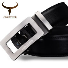 COWATHER® Black Luxury Belt Men Genuine Leather Male Strap Automatic Buckle Belt