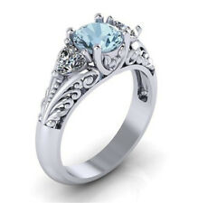 Wedding Engagement Ring 925 Silver Beautiful Aquamarine Women Jewelry Sz5-11