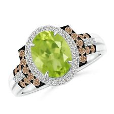 2.322tcw Vintage Style Natural Peridot Diamond Halo Cocktail Ring 14k Gold