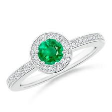 0.70tcw Natural Emerald Halo Ring with Diamond Accents Gold/Platinum Size 3-13