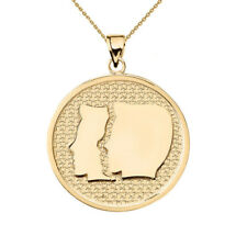 Solid 10k Yellow Gold Gemini Zodiac Disc Pendant Necklace
