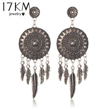 17KM® Dream Catcher Hollow Out Vintage Leaf Feather Dangle Earrings For Women