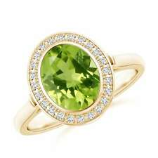 1.9tcw Oval Natural Peridot Diamond Cocktail Ring 14k Gold Size 3-13