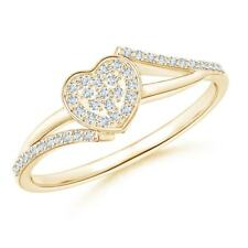 14K Gold/Silver Cluster Set Natural Diamond Heart Engagement Ring Size 3-13