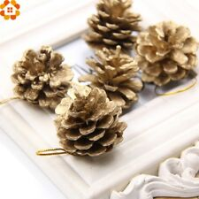 DIYHouse® 9PCS/Lot Gold Christmas Ornaments Pine Cones DIY Xmas Tree Ornament