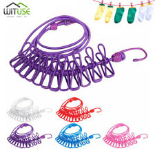 185cm Elastic Clothesline Portable Travel Camping Hanging Rope With 12 Clips 08