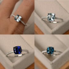 925 Silver Sapphire Gem Birthstone Diamond Wedding Engagement Ring Wholesale