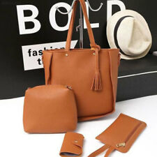 60BC 4pcs Women Leather Handbag Lady Shoulder Bags Tote Purse Messenger Satchel
