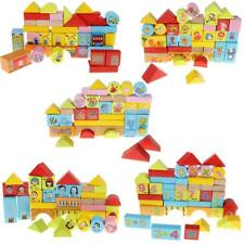 Kids Baby Developmental Wooden 46pcs Cartoon Blocks Building Bricks Toy Gifts