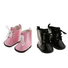 Lovely Doll PU Leather Shoes for American Girl 18inch Doll Boots Pink/Black
