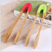 3in1 Bamboo Eco-friendly BBQ Barbecue Silicone Food Clip Clamp Spoon Fork Neo