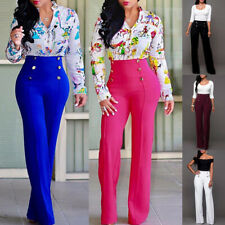 Pants Trousers Office Ladies Flared Button Long Summer Casual Polyester Palazzo