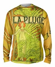 "Yizzam- Alphonse Mucha - ""La Plume"" (1898) - New Mens Long Sleeve Tee Shirt XS"