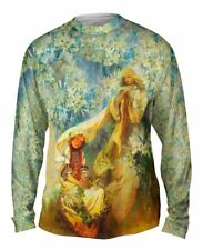 "Yizzam- Alphonse Mucha - ""Madonna of the Lilies"" (1905) - New Mens Long Sleeve"