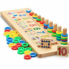 Infant Toys Montessori Digital Link Game Matching Board Blocks Wooden Math Set