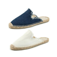 Womens Girls Slip On Mules Espadrilles Flats Canvas Casual Summer Slippers Shoes