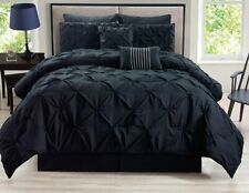 Kinglinen 8 Piece Rochelle Pinched Pleat Black Comforter Set Queen