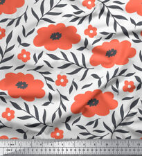 Soimoi Fabric Pecan Leaves & Floral Printed Craft Fabric by the Yard - FL-911