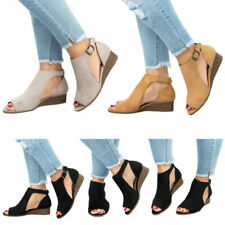 Womens Ladies Peep Toe Wedge Sandals Buckle Ankle Strap Casual Shoes Plus Size