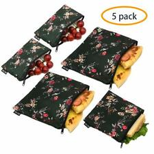 Reusable Sandwich Bags Snack Bags - Set of 5 Pack, Dual Layer Lunch Bags with
