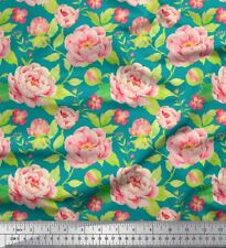 Soimoi Fabric Leaves & Peony Floral Printed Craft Fabric by the Yard - FL-194G