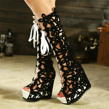 Sexy Women High Heels Wedge Platform Sandals Boots Hollow Out Strappy Roman Shoe