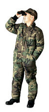 Boys Woodland Camo Insulated Coveralls - 2 Way Front Zipper - Leg Zippers