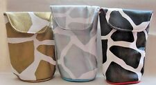 Sunglass Case Kristine New Giraffe Print Black Silver Gold 3 Choices Suede Inner