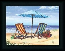 Made In Shade Beach Chair Tropical Art Print Framed
