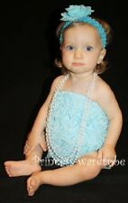 Baby Girls Light Blue Lace Ruffles Petti Romper NB-3Y