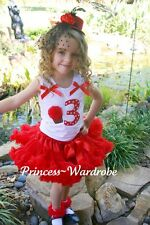 Red Pettiskirt Polka Dots Print 3rd Birthday Baby Top