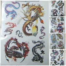 1x SHEET MENS BOYS TEMPORARY AUTHENTIC ANGRY CHINESE DRAGON TEMPORARY TATTOOS UK