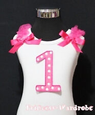Baby Hot Pink Polka Dot 1st Birthday with Bow White Top