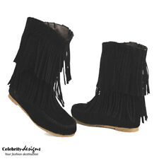 bh8 Celebrity Style Boho Suede Double Fringed Flat Ankle Boots